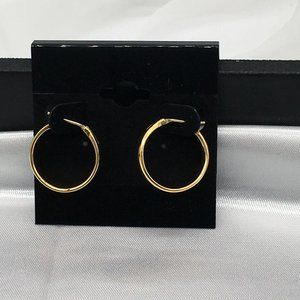 Unsigned Gold Plated Hoop Earring #1395
